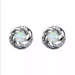 Silver Imitation Opal Stud Earrings w/ Rhinestones
